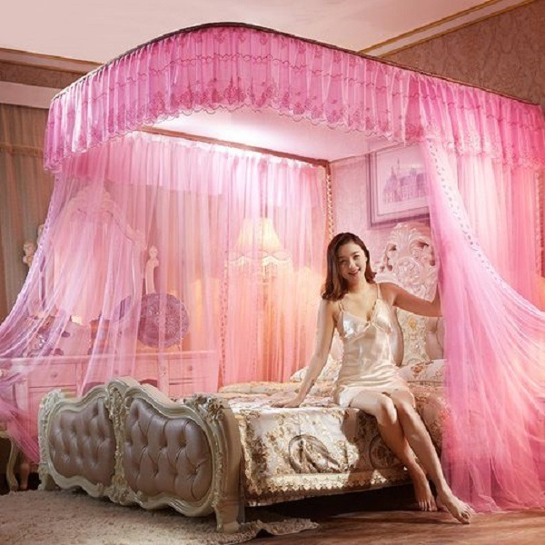2 STAND MOSQUITO NET WITH RAILS (PINK)