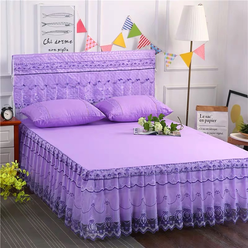 4*6 3PC BED SKIRT(PURPLE)