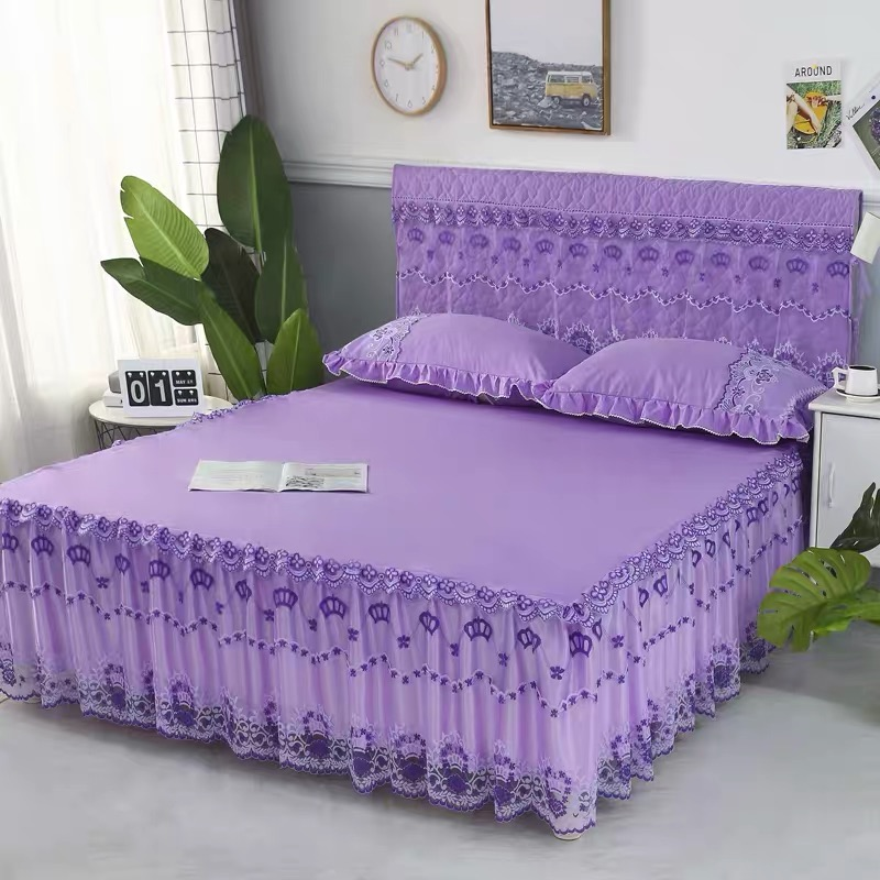 5*6 3PC BED SKIRT(PURPLE)