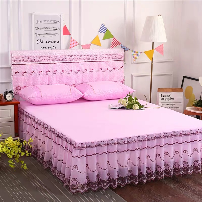 5*6 3PC BED SKIRT(PINK)