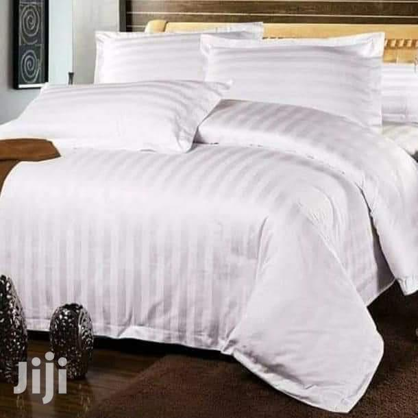Pure White Cotton Bed sheets(Stripped 6x6)
